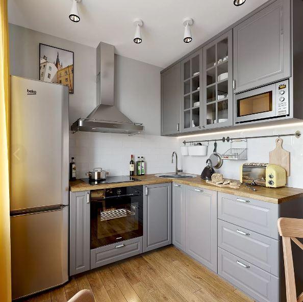 Кухня в холодных светлых тонах