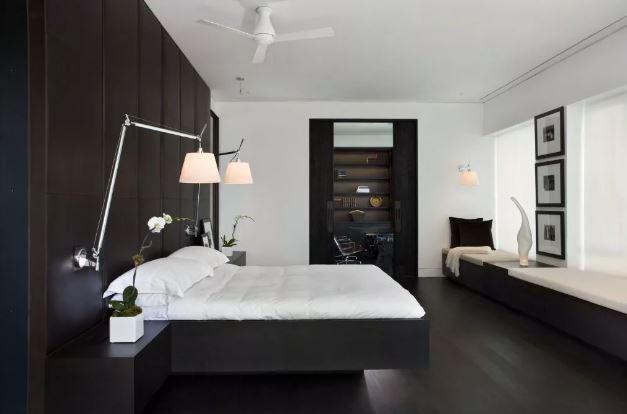 Чёро-белая спальня. Фактуры в тёмном интерьере