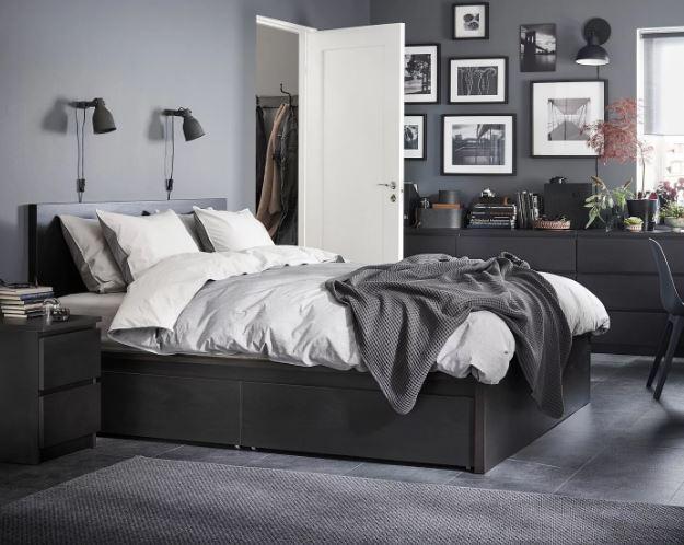 Чёрный цвет в спальне