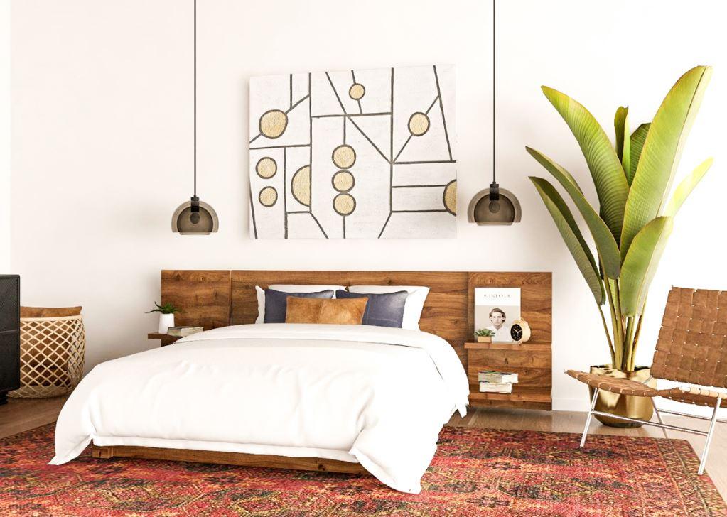 Спальня в светлых тонах, в стиле mid-century modern