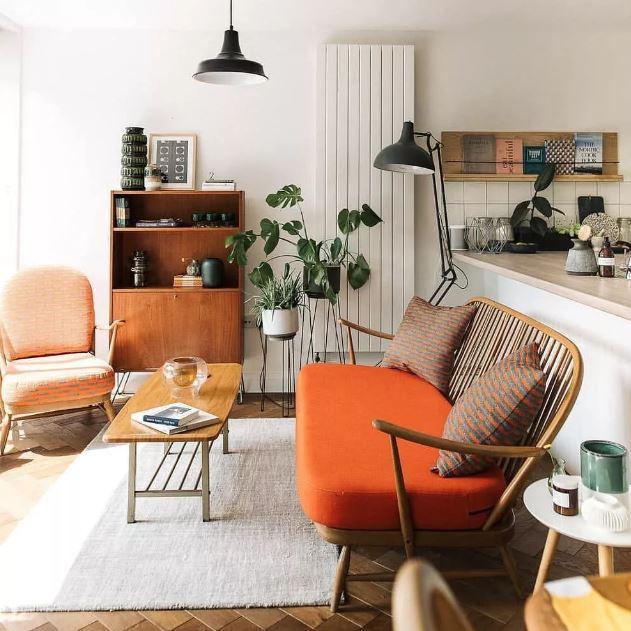 Место отдыха в стильном оформлении. Дизайн интерьера с использованием ярких и нейтральных цветов.
