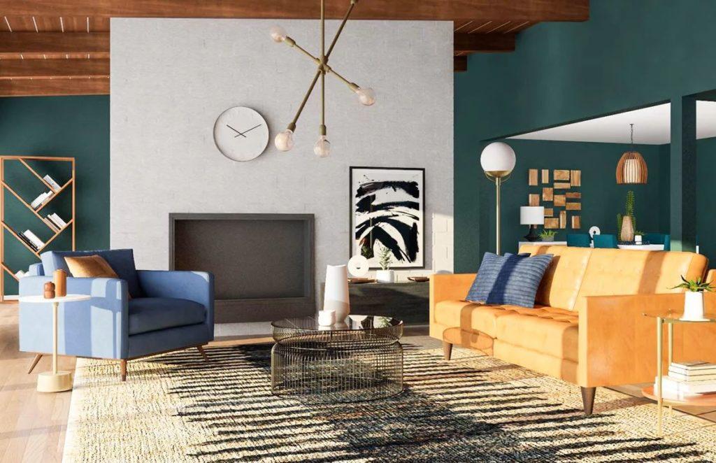Современная гостиная в стиле mid-century modern, акцентные стены.
