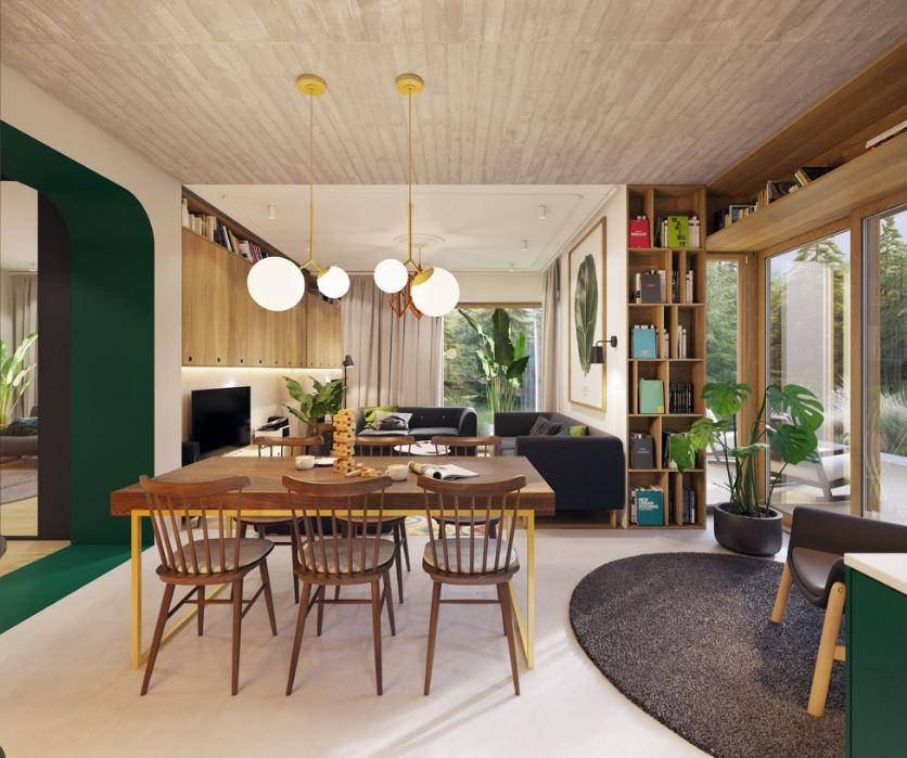 Столовая совмещённая с гостиной в стиле mid-century modern.