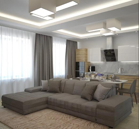 мебель в стильном дизайнерском проекте, деление пространства