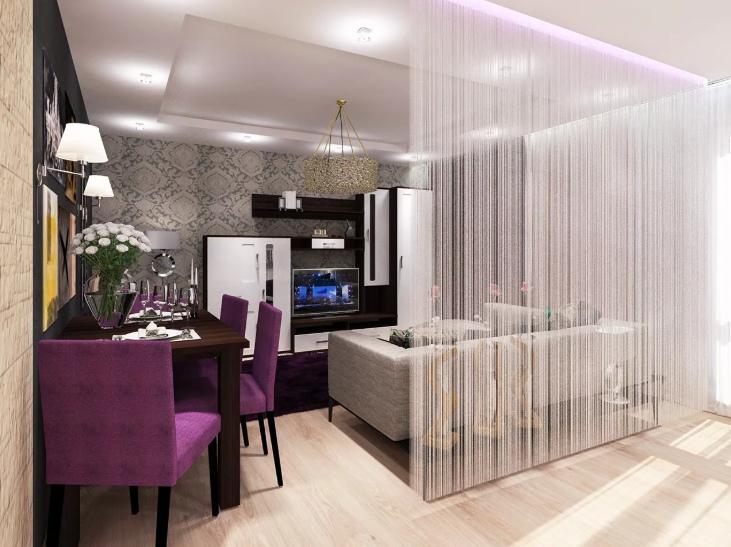 деление пространства квартиры с открытой планировкой при помощи света и текстиля