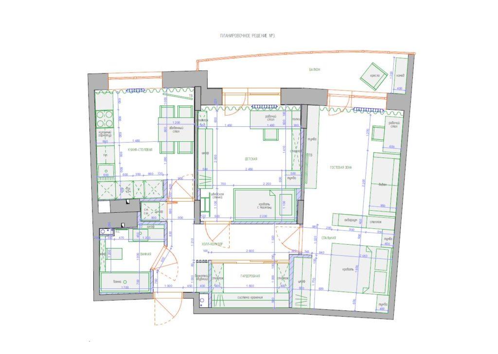 Третий вариант перепланировки жилого пространства