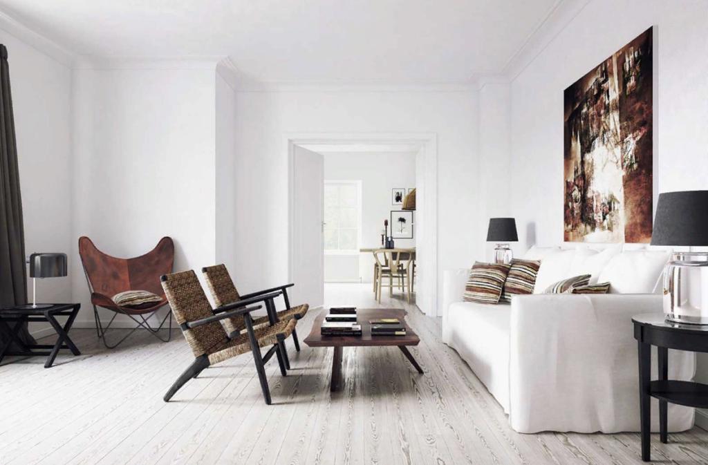 Современный интерьер, стиль минимализм в пространстве гостиной