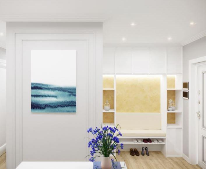 Акцентная стена в интерьере белого цвета