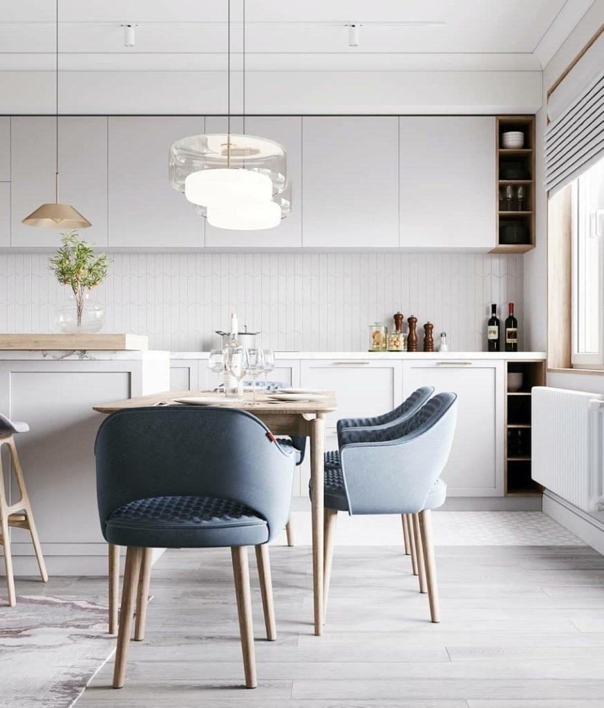 Мягкие округлые формы мебели в интерьере кухни