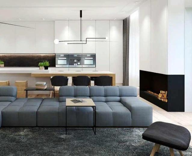 Интерьер современной квартиры гостиная совмещённая со столовой и кухней
