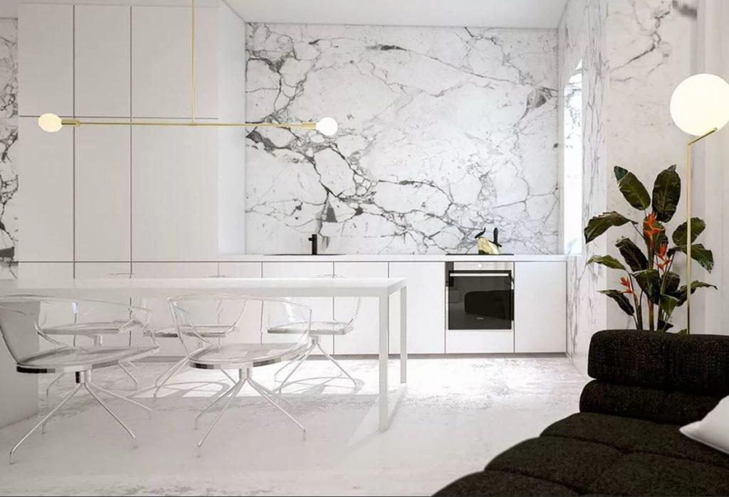 Белый цвет в интерьере, использование различных фактур
