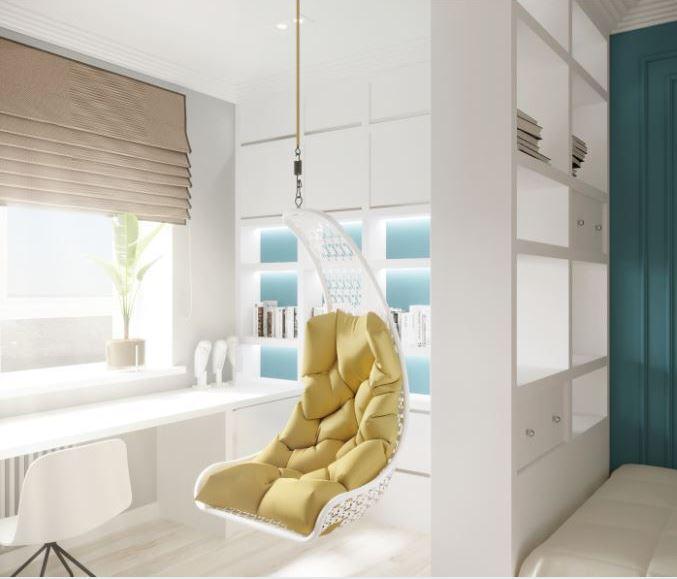 Акцентная мебель в белом интерьере
