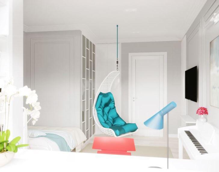 Применение акцентов в белом интерьер при помощи текстиля мебели