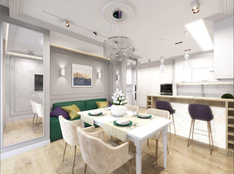 функциональное зонирование при совмещении кухни и гостиной