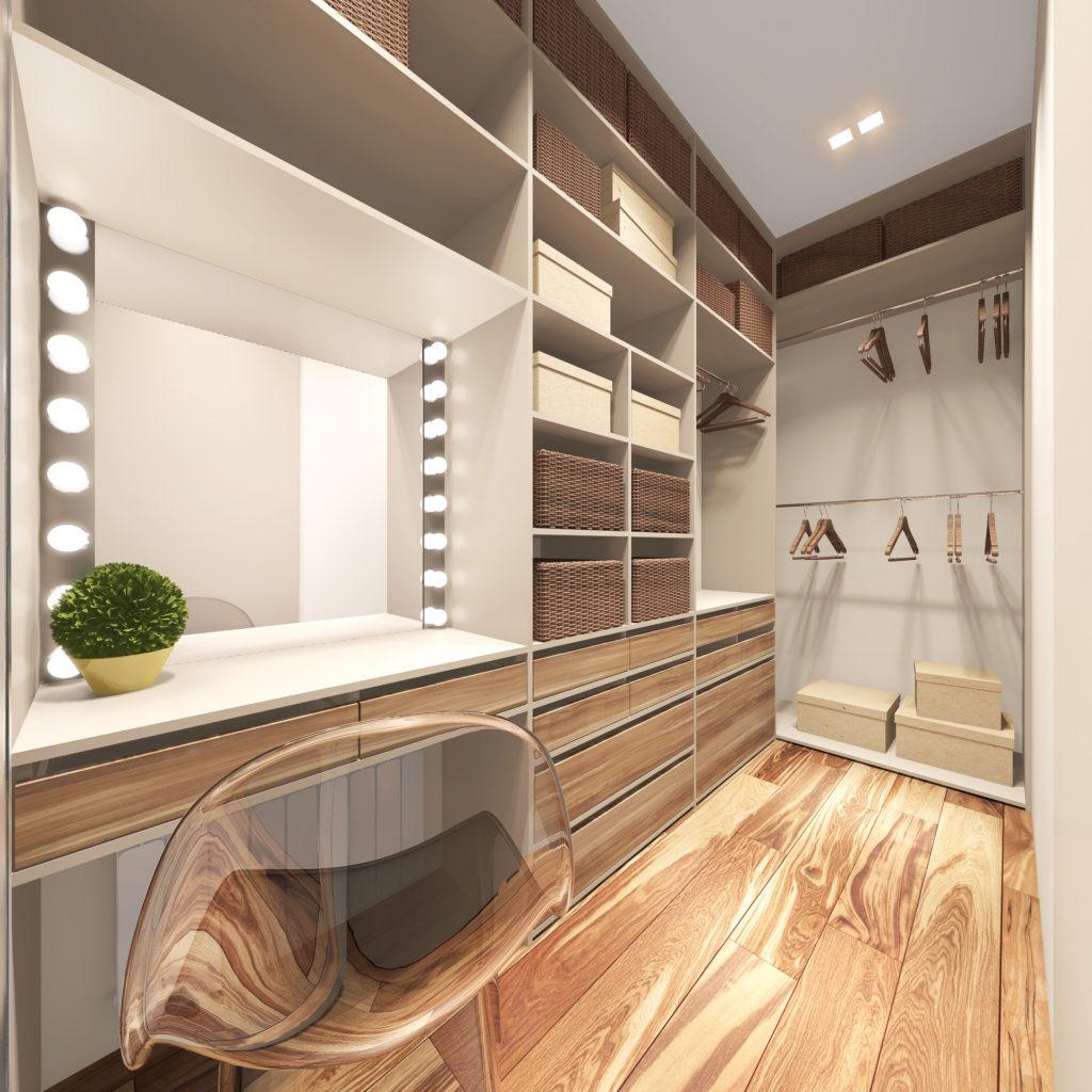современный вариант размещения функционального пространства гардеробная.