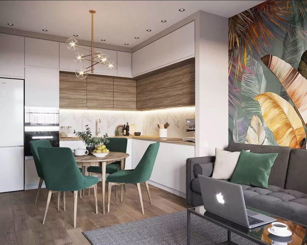 Пример минималистичного  рабочего места в гостиной