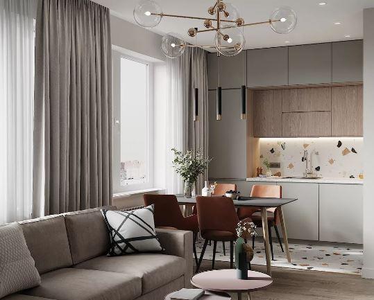 Стильный интерьер кухни совмещённой с  гостиной и столовой зоной