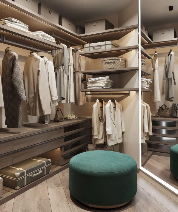 Стильное и функциональное пространство современной гардеробной комнаты