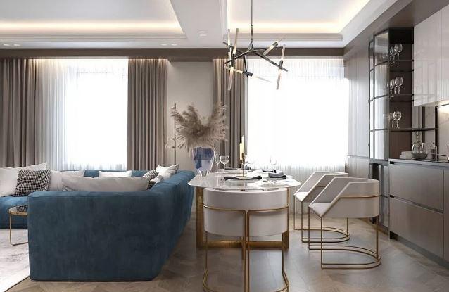 совместить кухню и гостиную, функциональное объединение пространства в современном интерьере