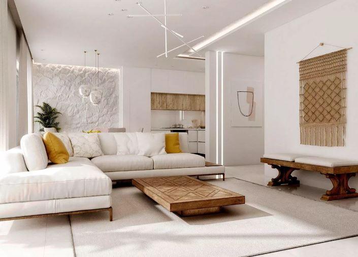 Ярко выраженная фактура в интерьере светлой гостиной