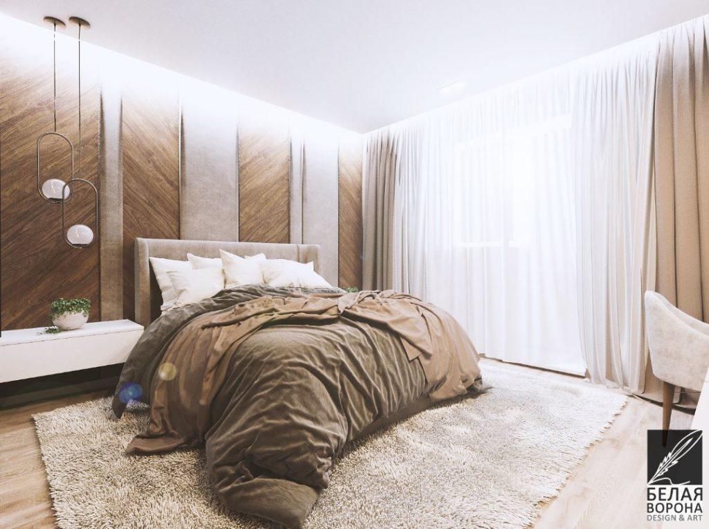 Стильный бежевый оттенок- основа колористического сочетания в интерьере спальни