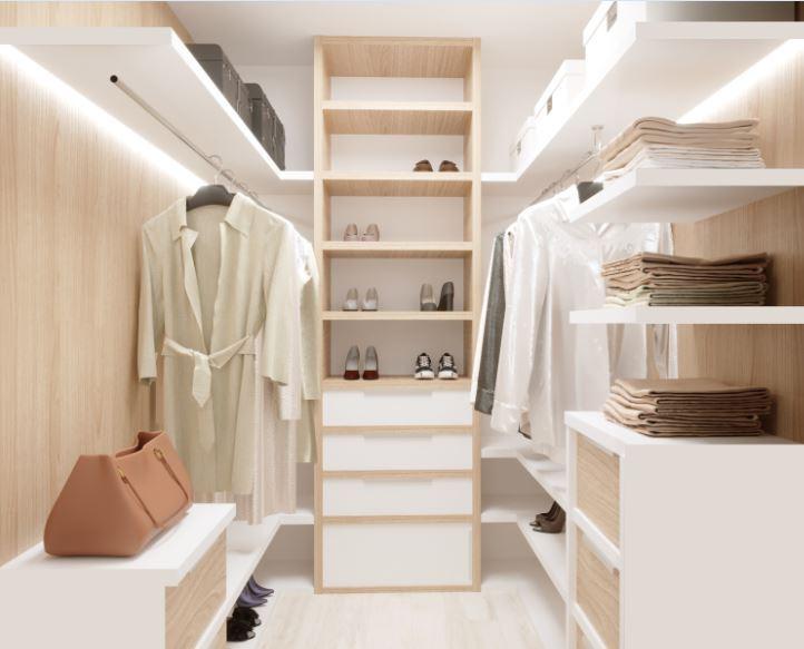современный стильный светлый интерьер гардеробной комнаты.