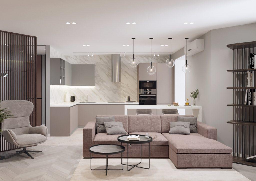 интерьер современной кухни-гостиной с применением нейтральных оттенков