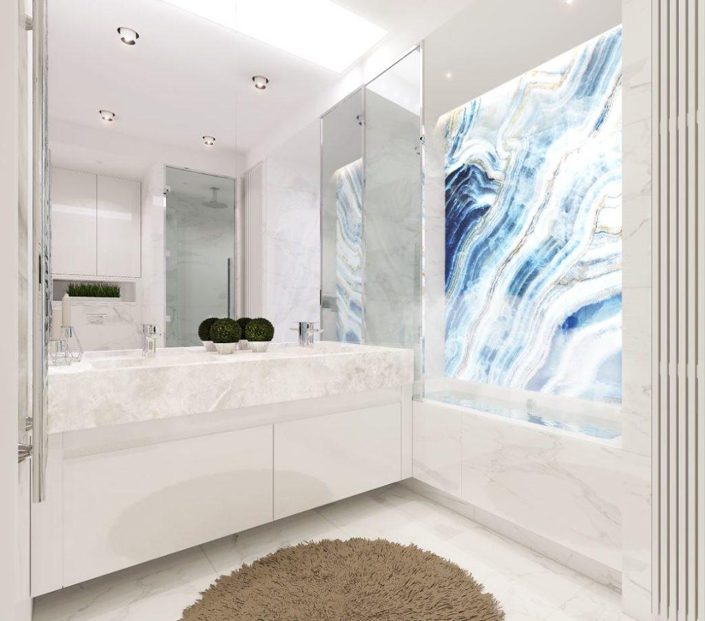 Ванная в современном стиле с цветовым акцентом