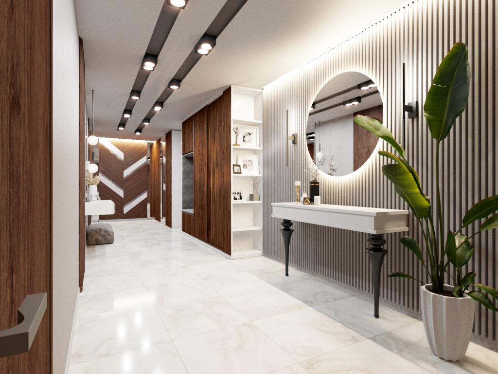 интерьер холла в современном стиле в базовом колористическом сочетании