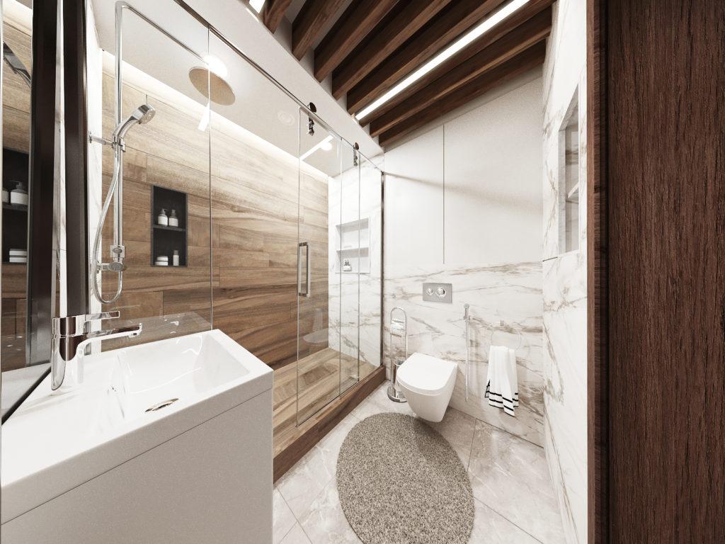 дизайн ванной комнаты с использованием базовых оттенков