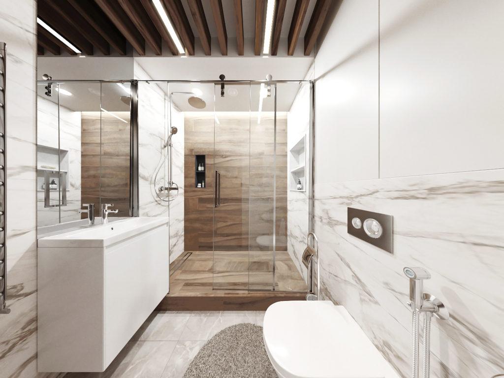 современный интерьер ванной комнаты и базовые цвета