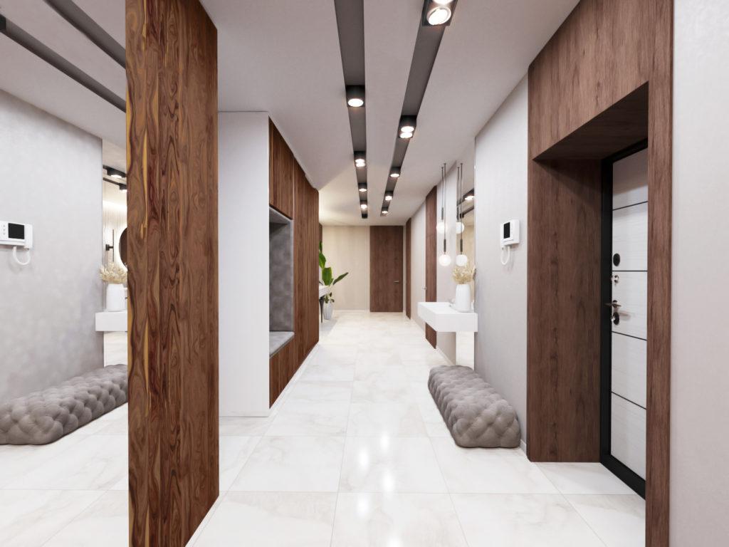 интерьер коридора со стильными рейками в отделке потолка