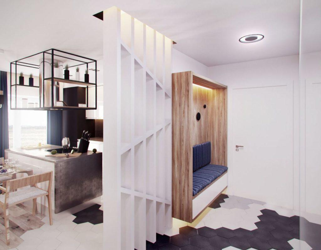 Интерьер прихожей с использованием базовых цветов в отделке и декоративных материалах