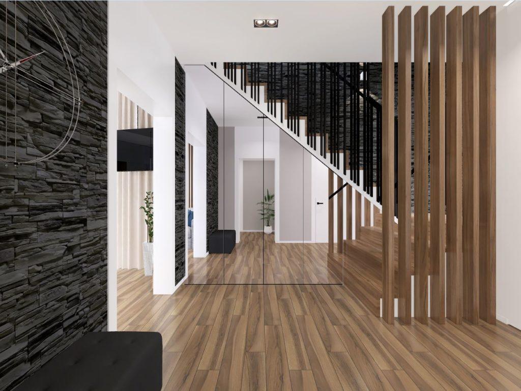 современное оформление холла с использованием базовых цветов и стильных элементов