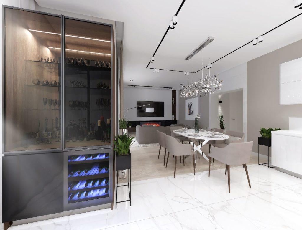Кухня совмещённая со столовой и гостиной с использованием нейтральных цветов