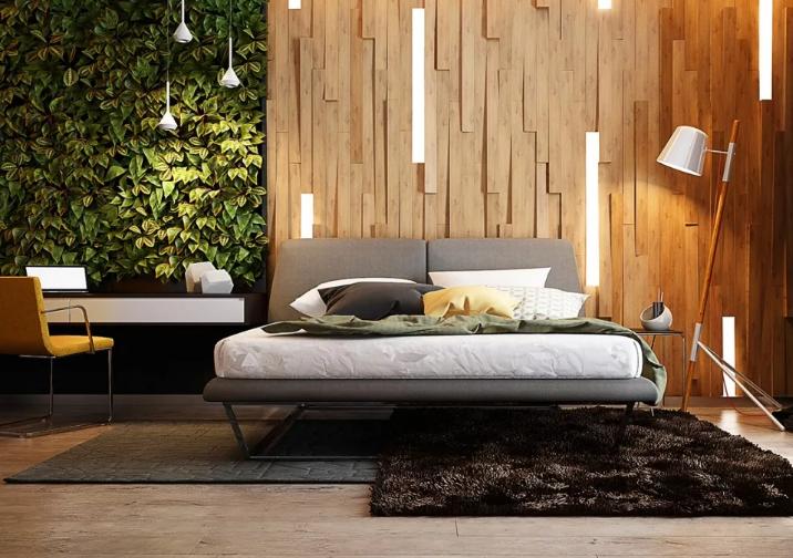 интерьер спальни в современном стиле. В пространстве использованы экологичные элементы