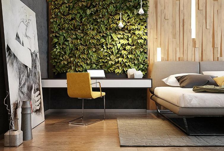 экологичные элементы в светлом и просторном помещении спальни.