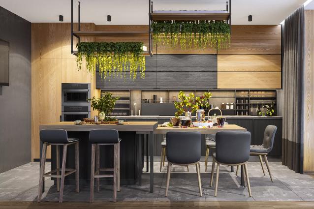 кухня в современном жилом пространстве с вертикальным озеленением
