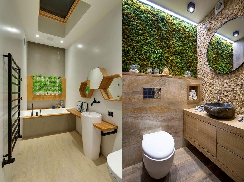 отделка ванной комнаты в современном стиле с использованием растительных элементов